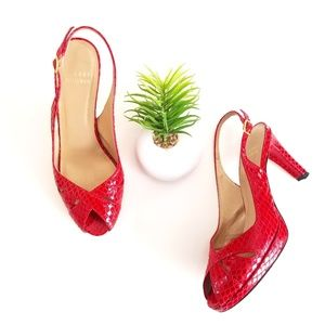 STAURT WEITZMAN Slingback Pumps Peep Toe Shoes Red